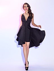 A-Line Spaghetti Straps Knee Length Taffeta Cocktail Party Homecoming Holiday Dress with Criss Cross by TS Couture®