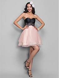 cheap -A-Line Sweetheart Short / Mini Organza Stretch Satin Cocktail Party Homecoming Holiday Dress with Lace Ruching by TS Couture®