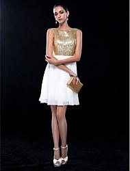 abordables -Trapèze Bijoux Courte / Mini Mousseline de soie Pailleté Soirée Cocktail / Fête de Mariage Robe avec Paillette par TS Couture®