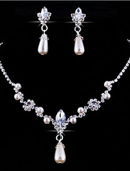 cheap -Jewelry Set Pendant Necklaces Personalized Floral European Wedding Party Pearl Crystal Rhinestone Imitation Diamond Alloy Drop Necklace