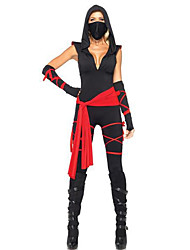 cheap -Ninja Cosplay Costume / Party Costume Women's Halloween / Carnival Festival / Holiday Halloween Costumes Black / Red Patchwork