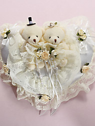 cheap -Ring Pillow In White Satin With Lovely Bears And Laces