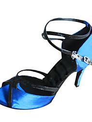 Može se prilagoditi - Ženske - Plesne cipele - Latin / Balska sala - Satin - Prilagođeno Heel - Plav