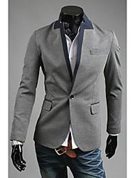 Cor Cinza Contraste One Button Suit Masculina OHFZ