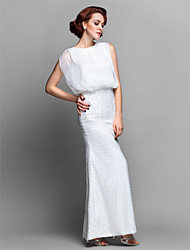 cheap -Sheath / Column Bateau Neck Floor Length Chiffon / Lace Mother of the Bride Dress with Beading by LAN TING BRIDE®