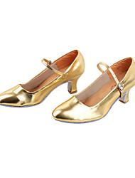 Chaussures de danse(Noir Argent Or) -Non Personnalisables-Talon Bottier-Similicuir-Moderne Salon