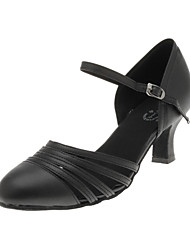 "cheap -Women's Modern Ballroom Leatherette Heel Flared Heel Black 2"" - 2 3/4"" Non Customizable"