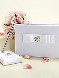 Satin Lace Classic Theme With Rhinestones Guest Book Pen Set Wedding Ceremony