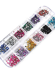 cheap -3000PCS 12-Color 2mm Wheel Nail Art Glitter Tips Rhinestone Decorations