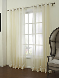 cheap -Sheer Curtains Shades Bedroom Solid Colored Linen / Polyester Blend Jacquard