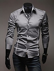 cheap -Men's Plus Size White/Black/Gray Casual Long Sleeve Basic Shirts