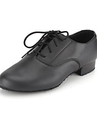 cheap -Men's Modern Shoes / Ballroom Shoes Leather Oxford Lace-up Low Heel Non Customizable Dance Shoes Black