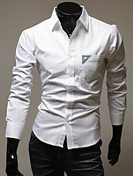STJY Contrast Color Long Sleeve Slimming Shirt(White)