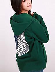 Inspiré par L'Attaque des Titans Mikasa Ackermann Manga Costumes de Cosplay Cosplay à Capuche Imprimé Manches Longues Manteau Pour Féminin