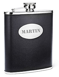 cheap -Personalized Father's Day Gift Black 8oz PU Leather Capital Letters Flask