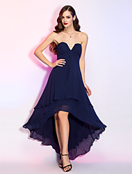 cheap -A-Line V Wire Asymmetrical Georgette High Low Cocktail Party / Prom Dress with Draping / Ruched by TS Couture®