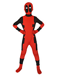 cheap -Zentai Suits Ninja Dead Super Hero Zentai Cosplay Costumes Red Print Leotard/Onesie Zentai Spandex Lycra Kid Halloween
