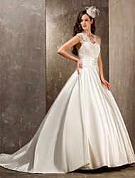 cheap -A-Line Princess Queen Anne Sweep / Brush Train Lace Satin Wedding Dress with Beading Appliques Sash / Ribbon Button by LAN TING BRIDE®
