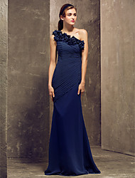 cheap -Sheath / Column One Shoulder Floor Length Georgette Bridesmaid Dress with Side Draping / Flower by LAN TING BRIDE®