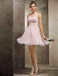 cheap -A-Line Sweetheart Short / Mini Chiffon Bridesmaid Dress with Ruched Criss Cross by LAN TING BRIDE®