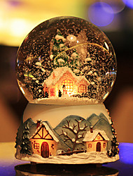 cheap -Snowing Ball City Of Sky Crystal Music Box Light Snow Rotating Lamp