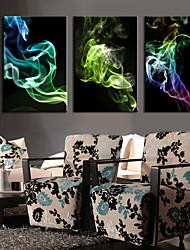 Недорогие -Натянутым холстом постер Абстрактные красочные дыма набор из 3