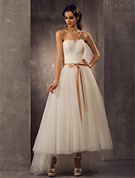 cheap -A-Line / Princess Sweetheart Neckline Asymmetrical Tulle Made-To-Measure Wedding Dresses with by LAN TING BRIDE®
