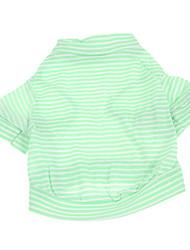 baratos -Cachorro Camiseta Roupas para Cães Riscas Verde Algodão Ocasiões Especiais Para animais de estimação
