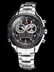 Herren Sportuhr Quartz Japanischer Quartz Kalender Chronograph Wasserdicht Alarm Edelstahl Band Silber Weiß Schwarz