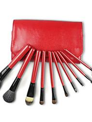 Недорогие -Pro Высокое качество 10 шт Природный козьей шерсти набор кистей Макияж с змеиной кожи мешок, Red & кофейного цвета
