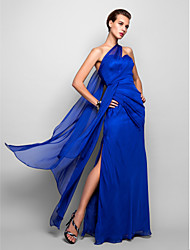 Sheath / Column One Shoulder Floor Length Chiffon Formal Evening Military Ball Dress with Side Draping by TS Couture®