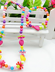 Girls' Love Colorful Party Acrylic Cross 1 Necklace 1 Bracelet