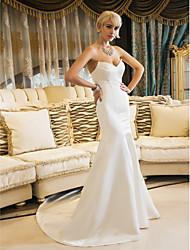cheap -Mermaid / Trumpet Sweetheart Court Train Satin Wedding Dress with Draped by LAN TING BRIDE®