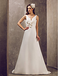 cheap -A-Line V Neck Sweep / Brush Train Satin Made-To-Measure Wedding Dresses with Sash / Ribbon / Flower / Button by LAN TING BRIDE®