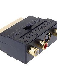 SCART para Composite 3RCA S-Video AV Adapter TV Áudio
