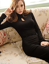 cheap -Women's Cut Out High Neck Long Sleeve Dress