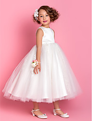 cheap -A-Line Princess Tea Length Flower Girl Dress - Satin Tulle Sleeveless Jewel Neck with Beading Appliques by LAN TING BRIDE®