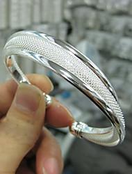 Недорогие -Браслет разомкнутое кольцо Широкий браслет Вырезка Для вечеринки Симпатичные Стиль Латунь Браслет Ювелирные изделия Серебряный Назначение Для вечеринок