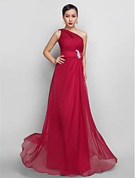 A-line un vestito chiffon da promenade di lunghezza del pavimento della spalla con appliques da ts couture®