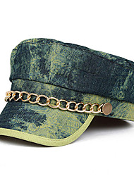Oyear Navy Style Metal Chain Denim Olive Flat Cap