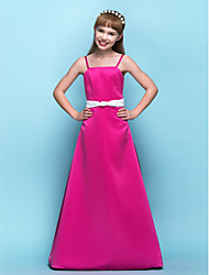 A-Line Spaghetti Straps Floor Length Satin Junior Bridesmaid Dress with Ruching by LAN TING BRIDE®
