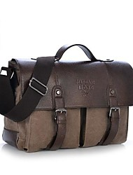 cheap -Men Bags Cowhide Canvas Satchel for Casual Summer All Seasons Coffee Brown Green