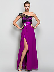 cheap -A-Line One Shoulder Floor Length Georgette Open Back Formal Evening Dress with Crystals / Lace / Ruched by TS Couture®