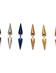 cheap -Fashion (Bicone Shape) Multicolor Titanium Steel Stud Earrings(Silver,Black,Blue,Rose,Gold,Multicolor) (1 Pc) Christmas Gifts