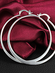cheap -Women's Hoop Earrings Costume Jewelry Brass Silver Plated Circle Jewelry For