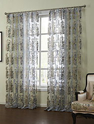 cheap -Modern Two Panels Floral  Botanical Blue Bedroom Sheer Curtains Shades