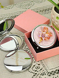 cheap -Personalized Gift Floral Style Pink Chrome Compact Mirror