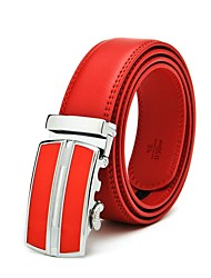 cheap -Men's Leather Alloy Buckle,Red Party Work Casual Solid