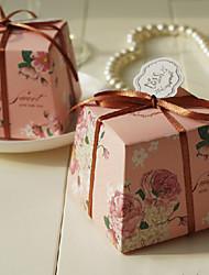 Pink Rose modello bomboniera con il nastro - Set di 12