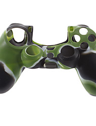 Custodia in silicone e 2 Grip nero Thumb Stick per PS4 (Hunter Verde)